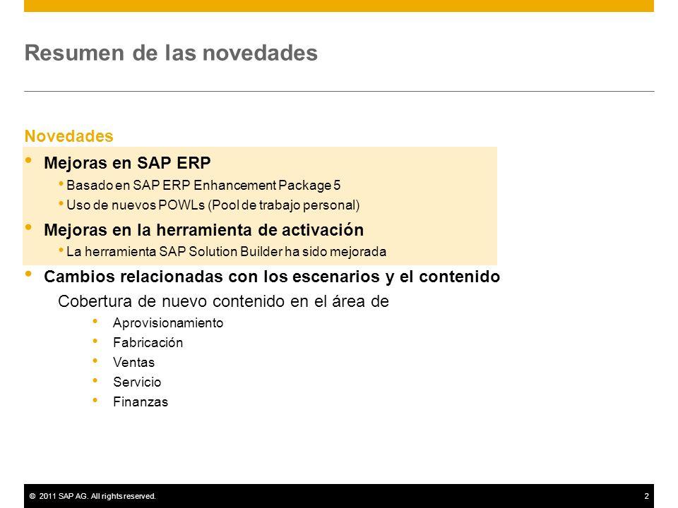 ©2011 SAP AG. All rights reserved.2 Resumen de las novedades Novedades Mejoras en SAP ERP Basado en SAP ERP Enhancement Package 5 Uso de nuevos POWLs