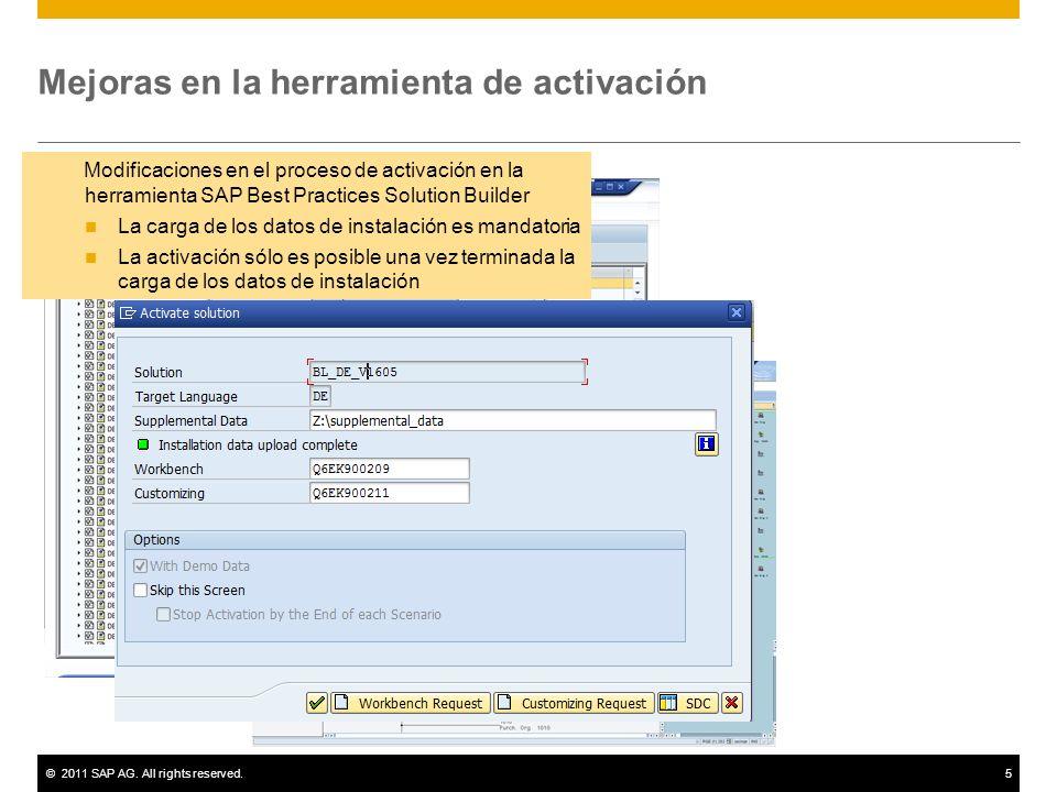 ©2011 SAP AG. All rights reserved.5 Modificaciones en el proceso de activación en la herramienta SAP Best Practices Solution Builder La carga de los d