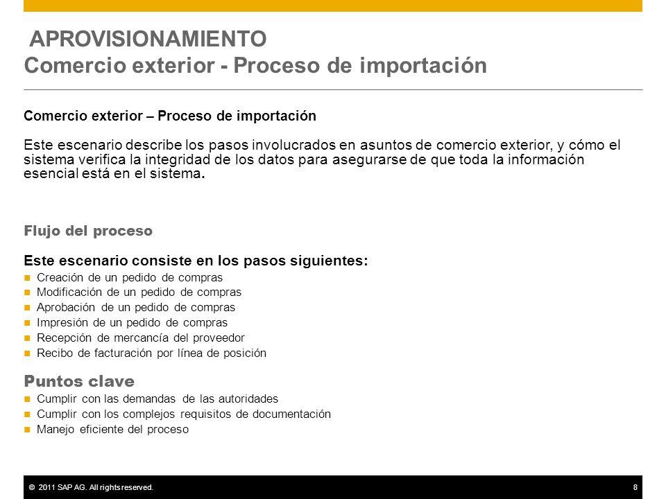 ©2011 SAP AG. All rights reserved.8 APROVISIONAMIENTO Comercio exterior - Proceso de importación Comercio exterior – Proceso de importación Este escen