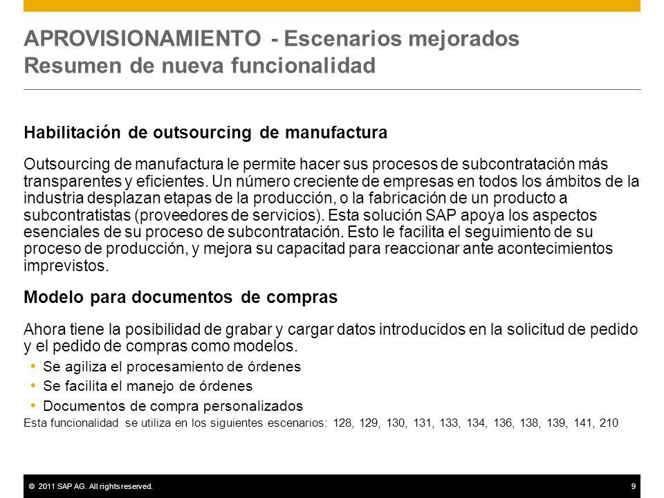 ©2011 SAP AG. All rights reserved.9 APROVISIONAMIENTO - Escenarios mejorados Resumen de nueva funcionalidad Habilitación de outsourcing de manufactura