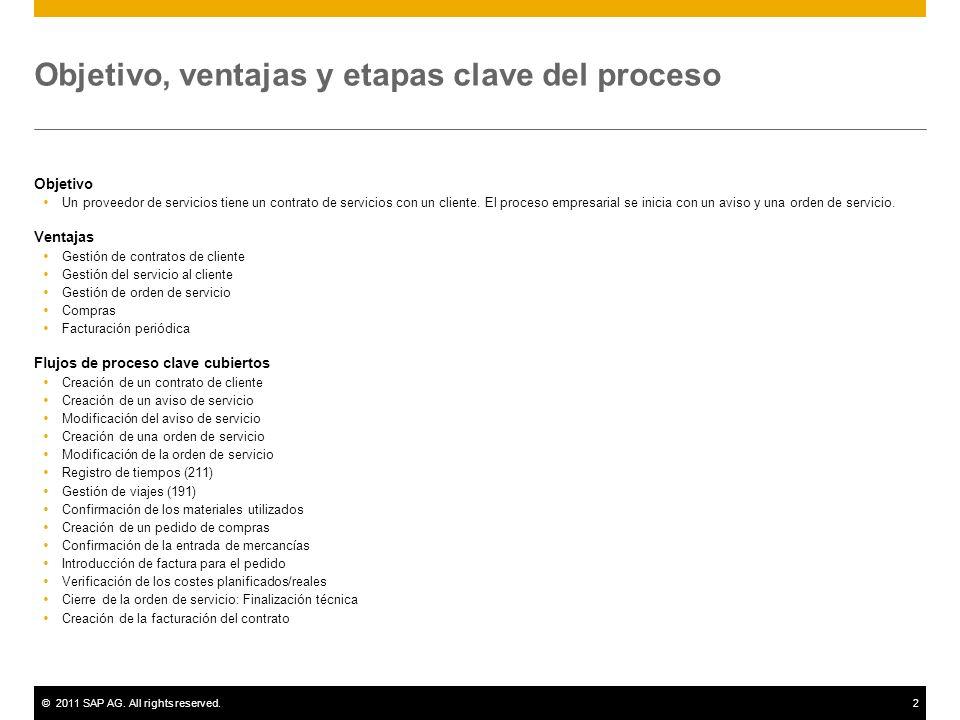 ©2011 SAP AG. All rights reserved.2 Objetivo, ventajas y etapas clave del proceso Objetivo Un proveedor de servicios tiene un contrato de servicios co