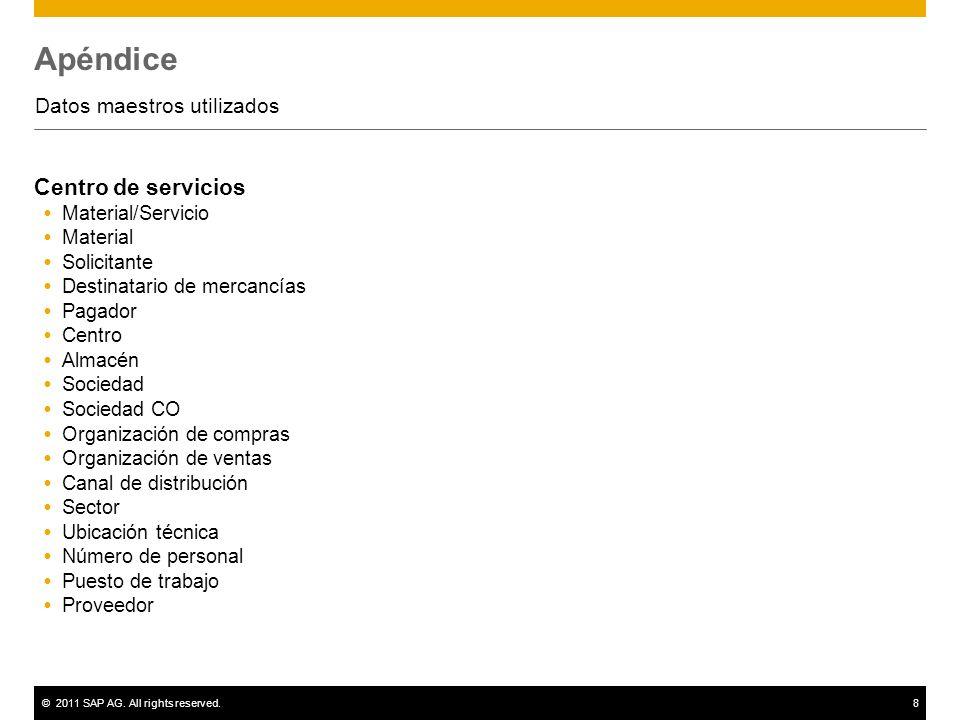 ©2011 SAP AG. All rights reserved.8 Apéndice Datos maestros utilizados Centro de servicios Material/Servicio Material Solicitante Destinatario de merc