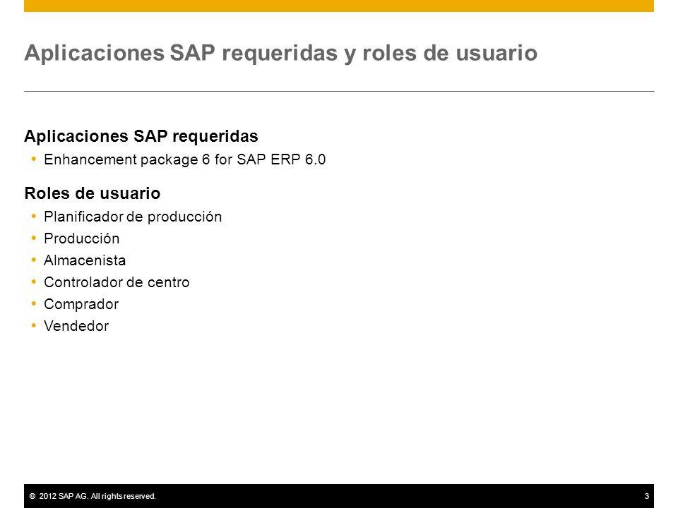 ©2012 SAP AG. All rights reserved.3 Aplicaciones SAP requeridas y roles de usuario Aplicaciones SAP requeridas Enhancement package 6 for SAP ERP 6.0 R