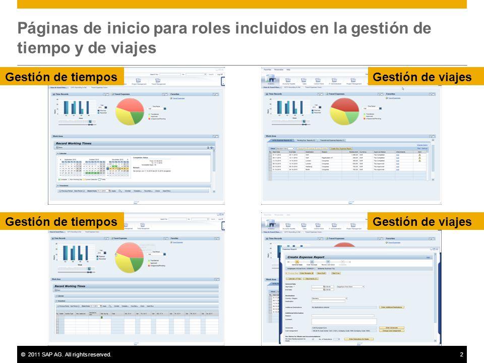 ©2011 SAP AG. All rights reserved.2 Páginas de inicio para roles incluidos en la gestión de tiempo y de viajes Gestión de tiemposGestión de viajes Ges