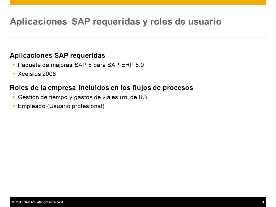 ©2011 SAP AG. All rights reserved.4 Aplicaciones SAP requeridas y roles de usuario Aplicaciones SAP requeridas Paquete de mejoras SAP 5 para SAP ERP 6