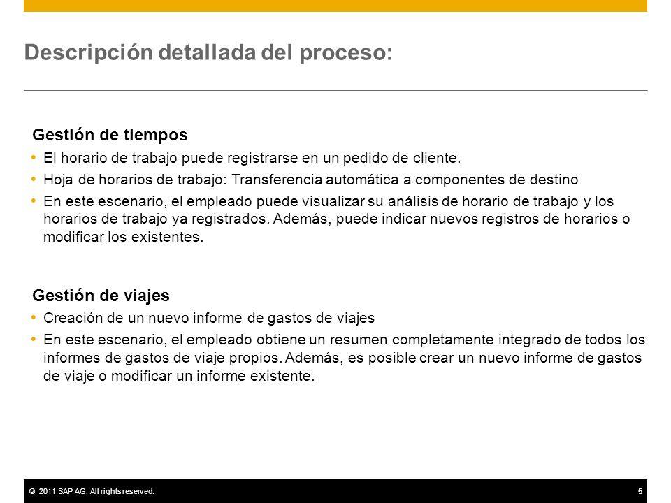 ©2011 SAP AG. All rights reserved.5 Descripción detallada del proceso: Gestión de tiempos El horario de trabajo puede registrarse en un pedido de clie