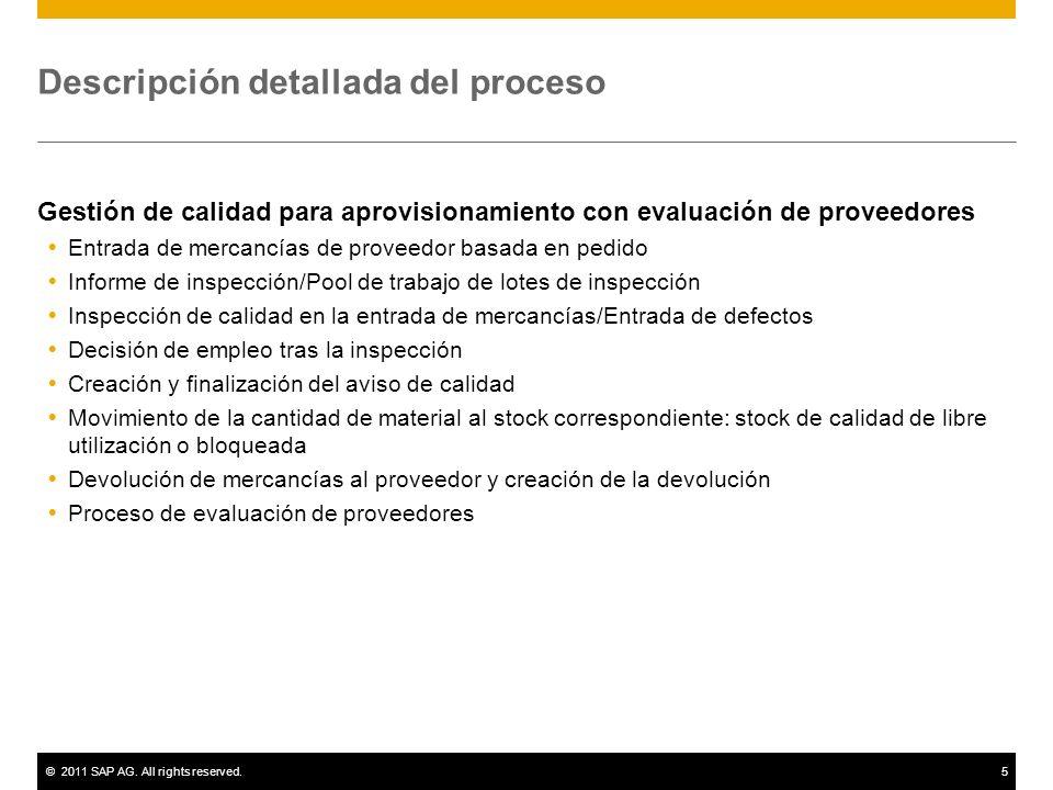 ©2011 SAP AG. All rights reserved.5 Descripción detallada del proceso Gestión de calidad para aprovisionamiento con evaluación de proveedores Entrada
