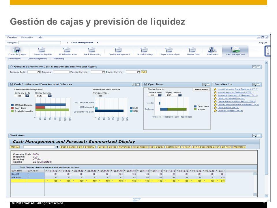 ©2011 SAP AG. All rights reserved.2 Gestión de cajas y previsión de liquidez