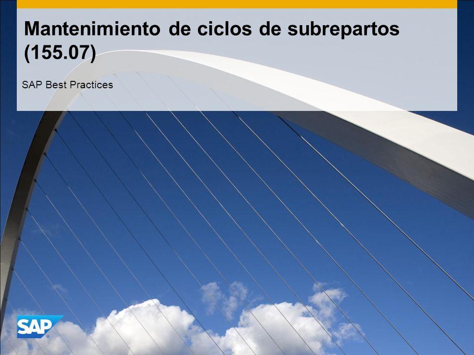 Mantenimiento de ciclos de subrepartos (155.07) SAP Best Practices