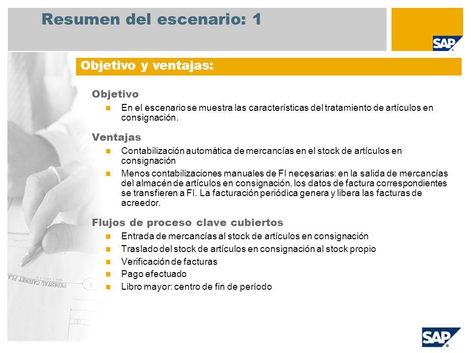 Resumen del escenario: 1 Objetivo En el escenario se muestra las características del tratamiento de artículos en consignación. Ventajas Contabilizació