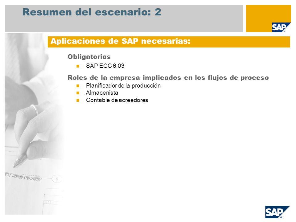 Resumen del escenario: 2 Obligatorias SAP ECC 6.03 Roles de la empresa implicados en los flujos de proceso Planificador de la producción Almacenista C