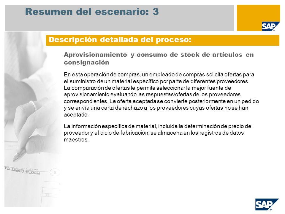Resumen del escenario: 3 Descripción detallada del proceso: Aprovisionamiento y consumo de stock de artículos en consignación En esta operación de com