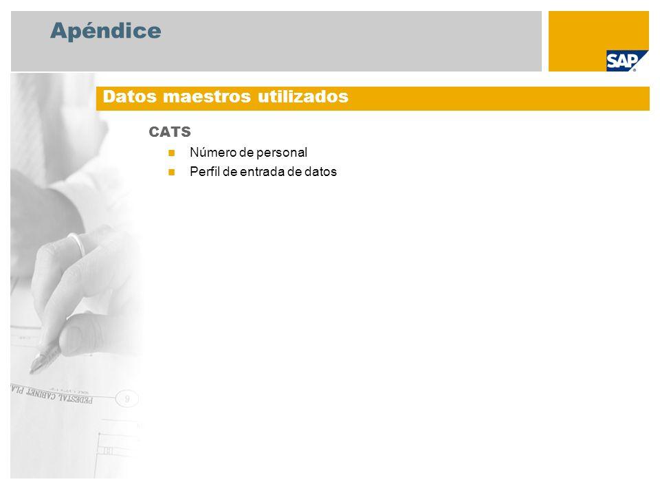 Apéndice CATS Número de personal Perfil de entrada de datos Datos maestros utilizados