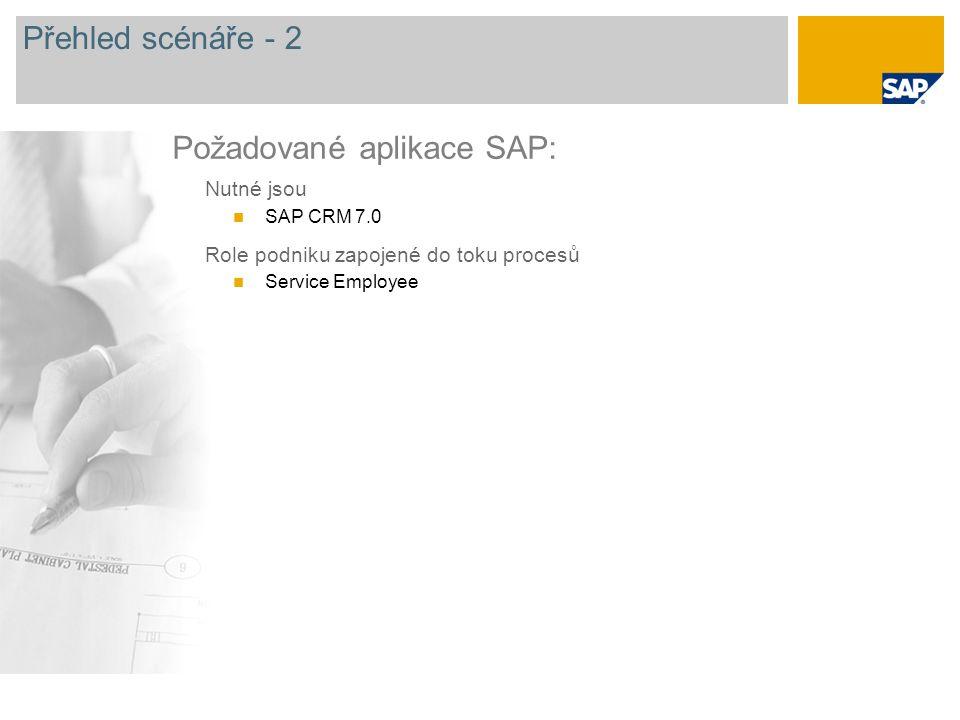 Přehled scénáře - 2 Nutné jsou SAP CRM 7.0 Role podniku zapojené do toku procesů Service Employee Požadované aplikace SAP: