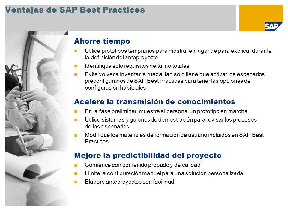 Ventajas de SAP Best Practices Ahorre tiempo Utilice prototipos tempranos para mostrar en lugar de para explicar durante la definición del anteproyect
