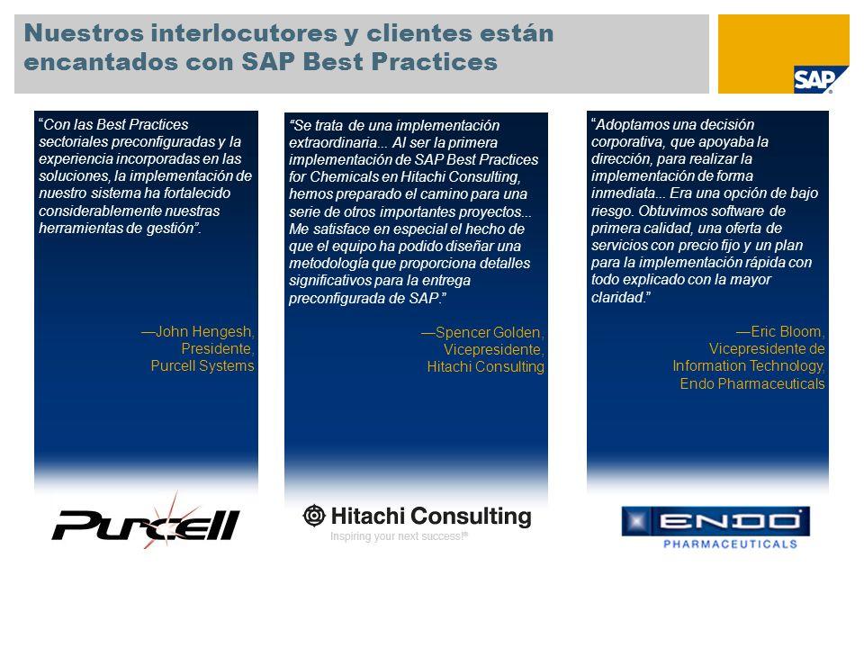 Nuestros interlocutores y clientes están encantados con SAP Best Practices Se trata de una implementación extraordinaria... Al ser la primera implemen