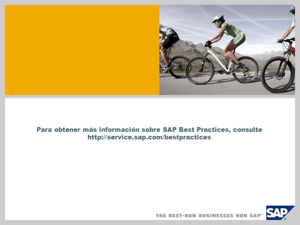 Para obtener más información sobre SAP Best Practices, consulte http://service.sap.com/bestpractices