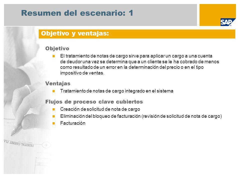 Resumen del escenario: 1 Objetivo El tratamiento de notas de cargo sirve para aplicar un cargo a una cuenta de deudor una vez se determina que a un cl