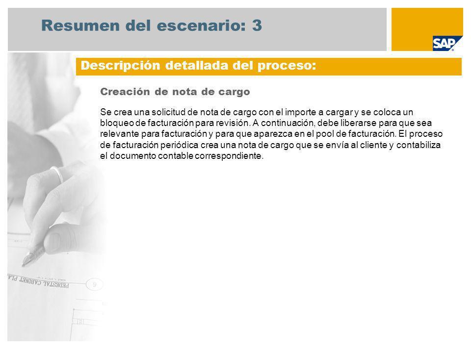 Resumen del escenario: 3 Creación de nota de cargo Se crea una solicitud de nota de cargo con el importe a cargar y se coloca un bloqueo de facturació