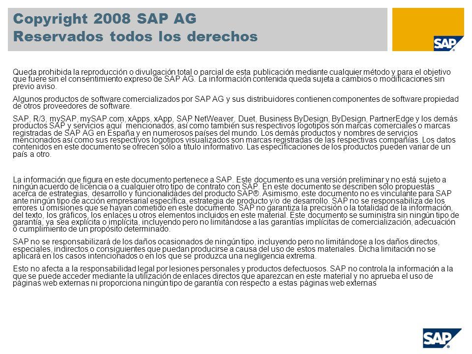Copyright 2008 SAP AG Reservados todos los derechos Queda prohibida la reproducción o divulgación total o parcial de esta publicación mediante cualquier método y para el objetivo que fuere sin el consentimiento expreso de SAP AG.