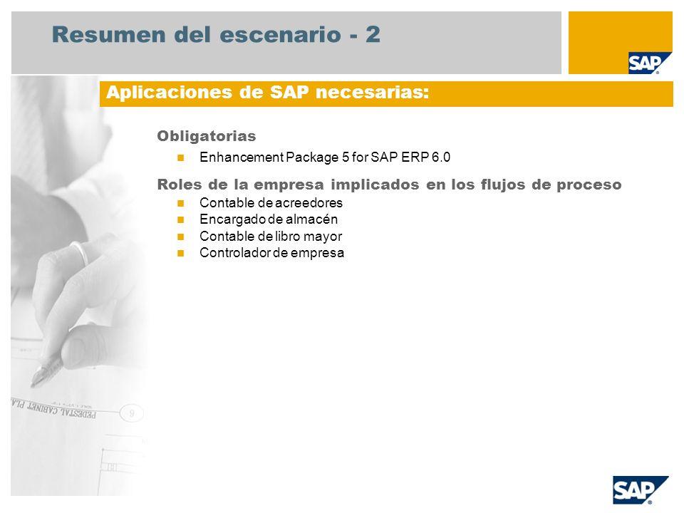 Resumen del escenario - 3 Cierre del período de órdenes de servicio Registro de transacciones de Acreedores relacionadas con los pedidos.