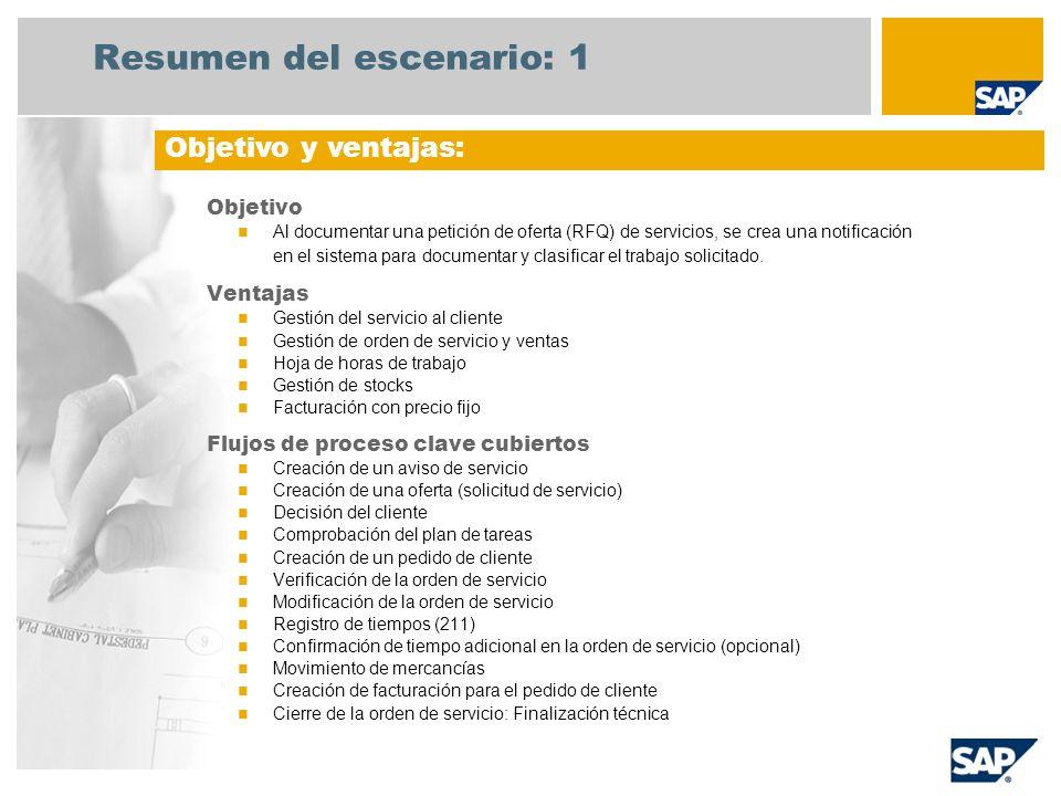 Resumen del escenario: 1 Objetivo Al documentar una petición de oferta (RFQ) de servicios, se crea una notificación en el sistema para documentar y cl