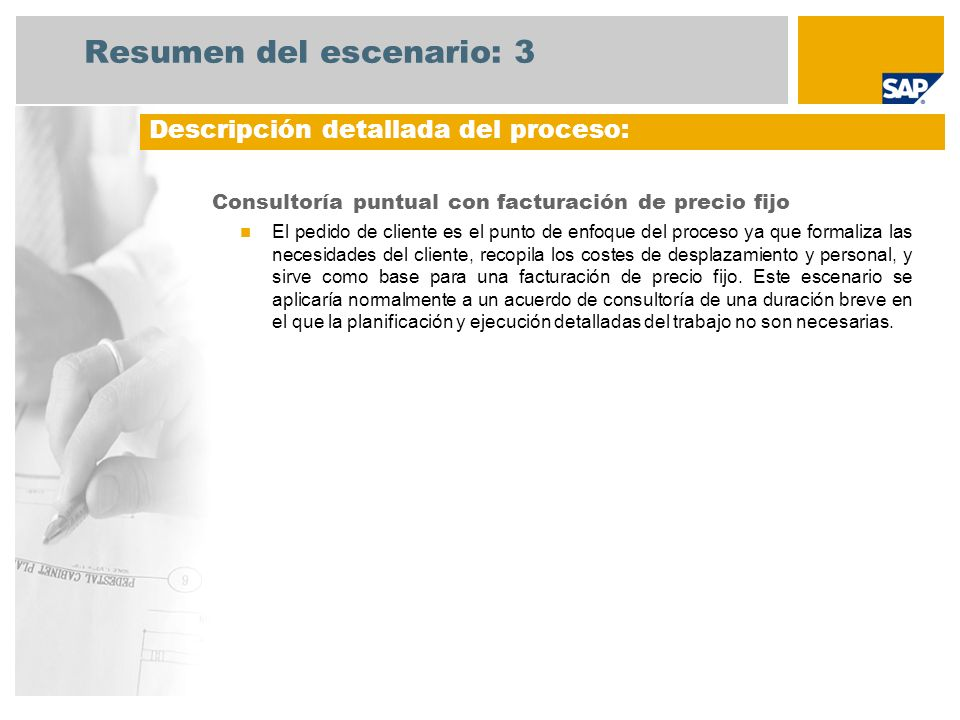Resumen del escenario: 3 Consultoría puntual con facturación de precio fijo El pedido de cliente es el punto de enfoque del proceso ya que formaliza l