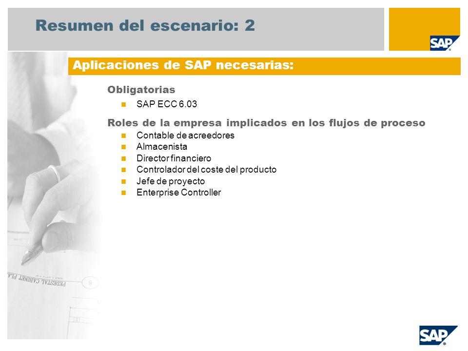 Resumen del escenario: 2 Obligatorias SAP ECC 6.03 Roles de la empresa implicados en los flujos de proceso Contable de acreedores Almacenista Director