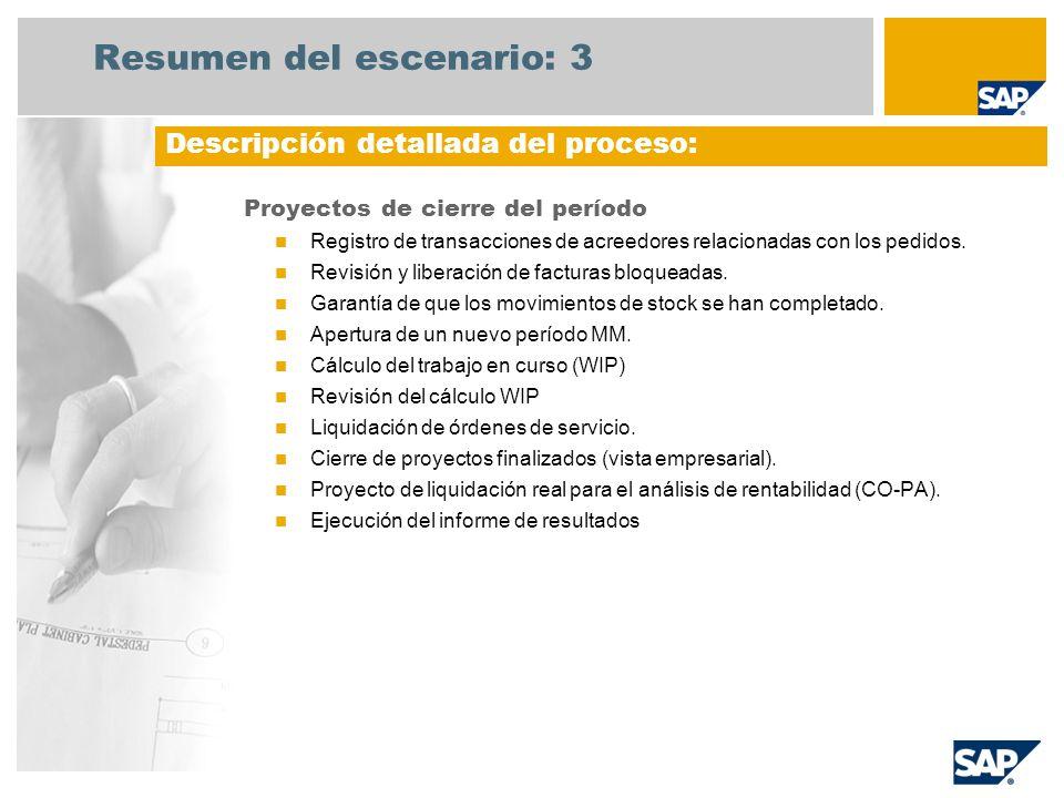 Resumen del escenario: 3 Proyectos de cierre del período Registro de transacciones de acreedores relacionadas con los pedidos. Revisión y liberación d