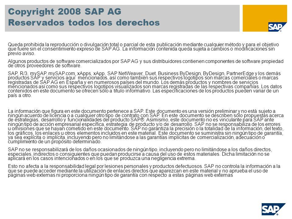 Copyright 2008 SAP AG Reservados todos los derechos Queda prohibida la reproducción o divulgación total o parcial de esta publicación mediante cualqui