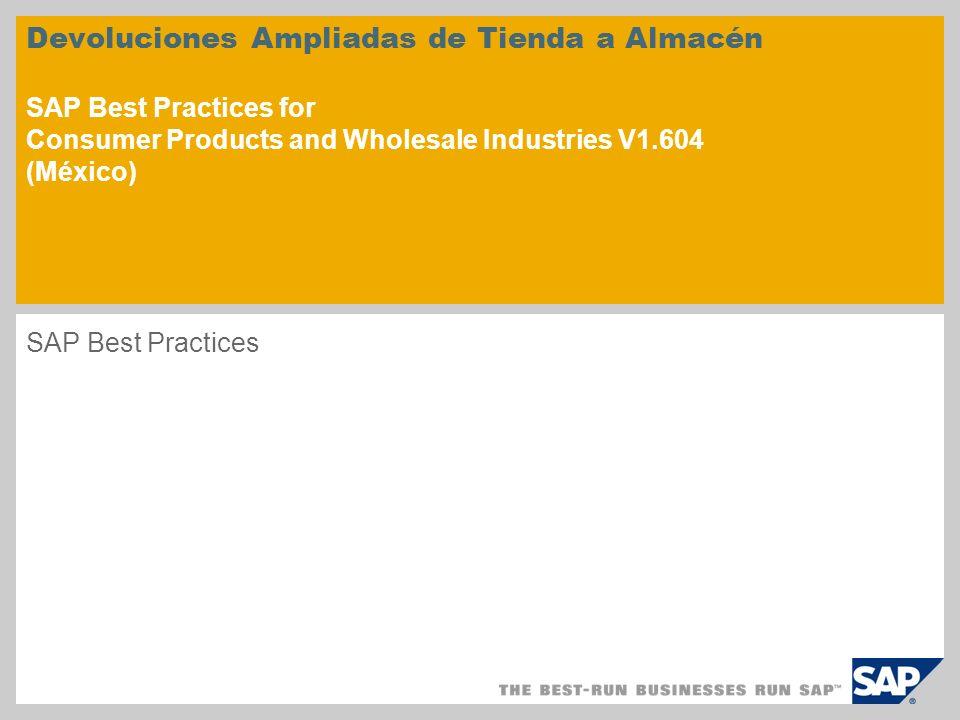 Devoluciones Ampliadas de Tienda a Almacén SAP Best Practices for Consumer Products and Wholesale Industries V1.604 (México) SAP Best Practices