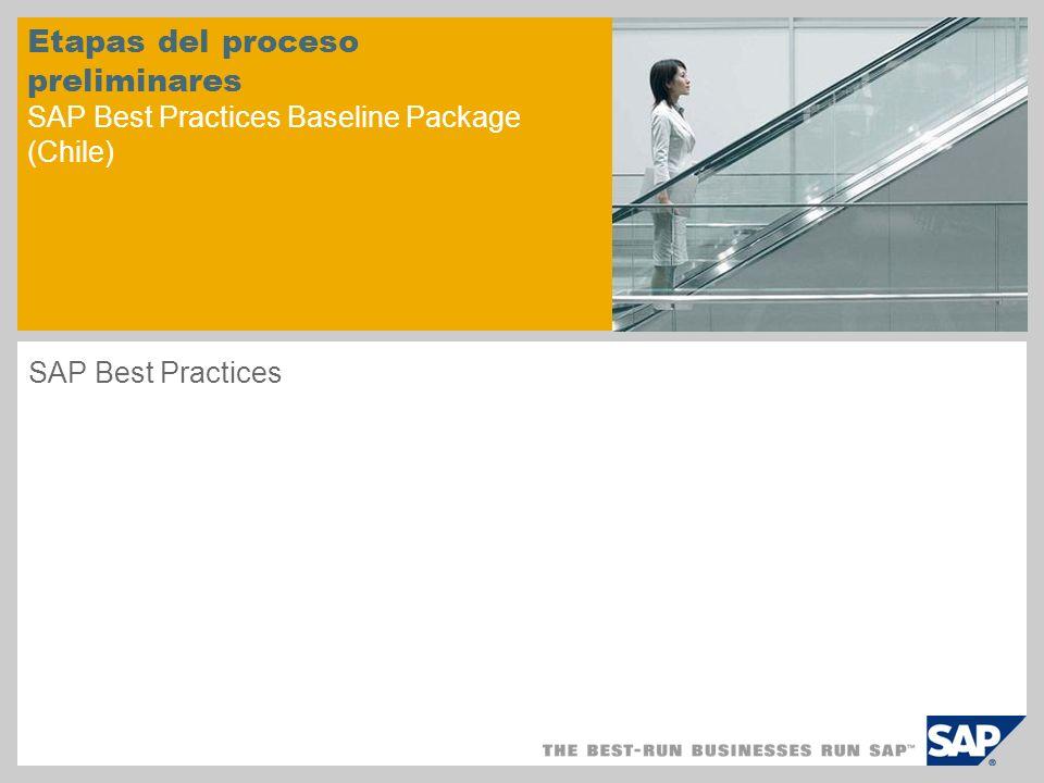 Etapas del proceso preliminares SAP Best Practices Baseline Package (Chile) SAP Best Practices