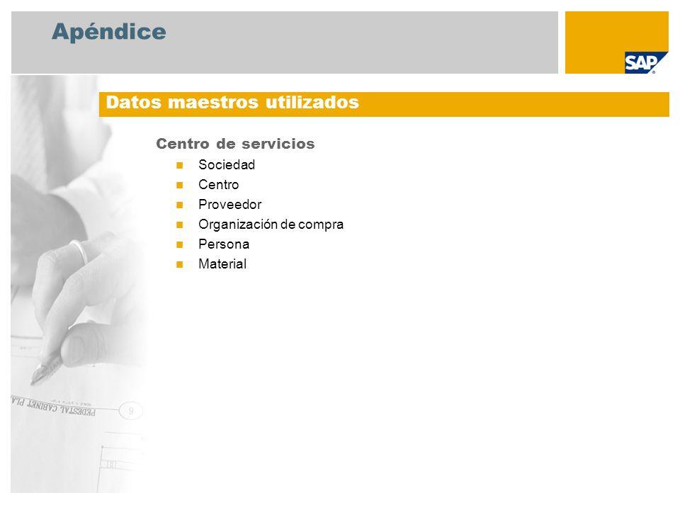 Apéndice Centro de servicios Sociedad Centro Proveedor Organización de compra Persona Material Datos maestros utilizados