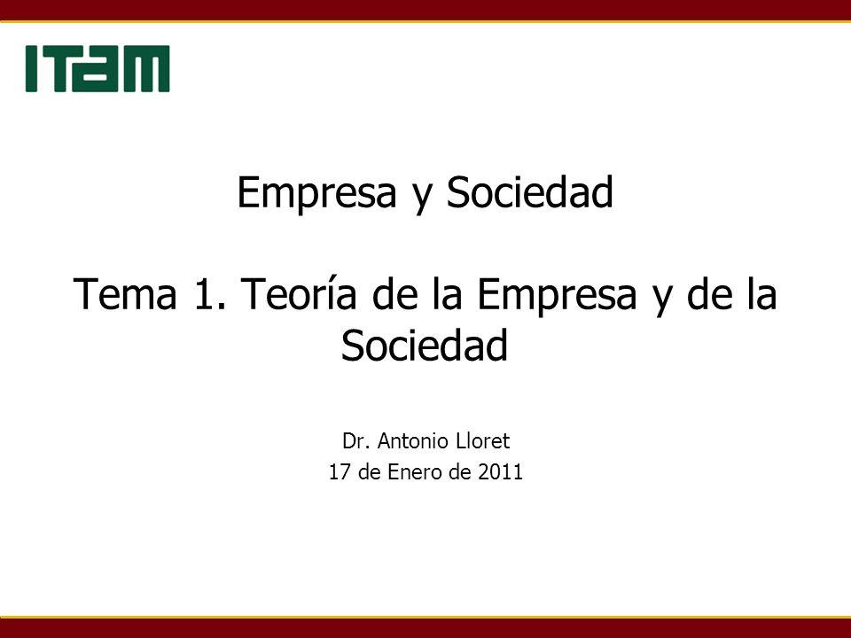 Empresa y Sociedad Tema 1. Teoría de la Empresa y de la Sociedad Dr. Antonio Lloret 17 de Enero de 2011