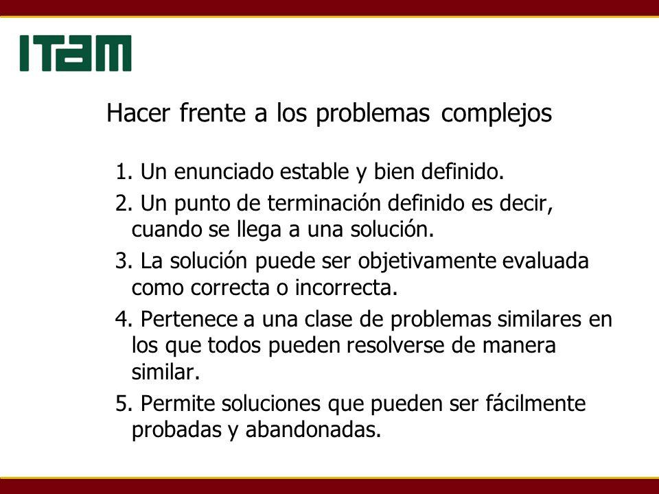 Hacer frente a los problemas complejos 1. Un enunciado estable y bien definido.