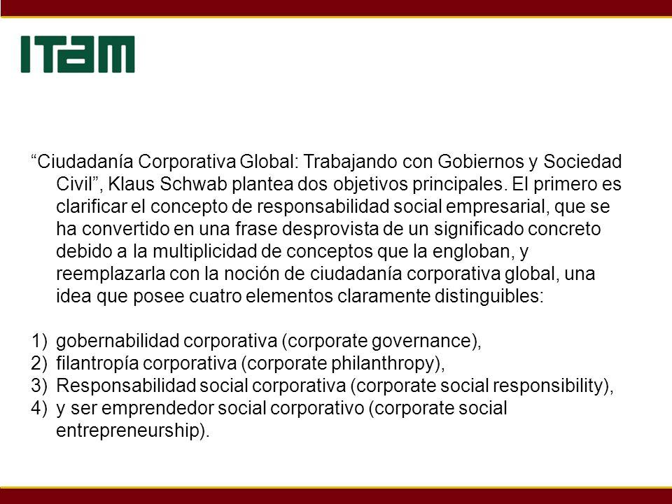 Ciudadanía Corporativa Global: Trabajando con Gobiernos y Sociedad Civil, Klaus Schwab plantea dos objetivos principales. El primero es clarificar el