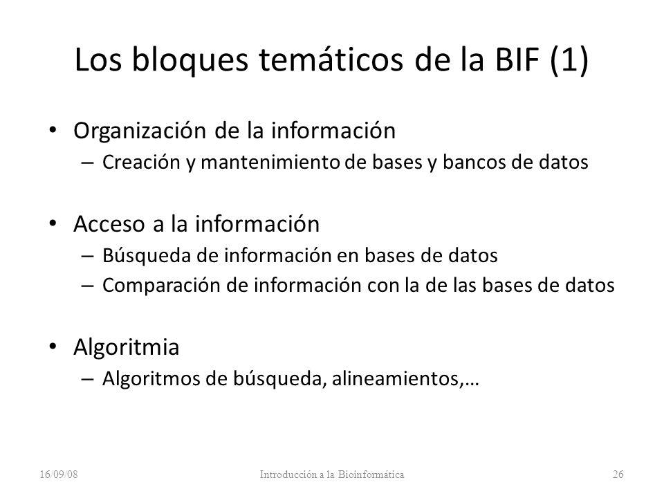 Los bloques temáticos de la BIF (1) Organización de la información – Creación y mantenimiento de bases y bancos de datos Acceso a la información – Bús