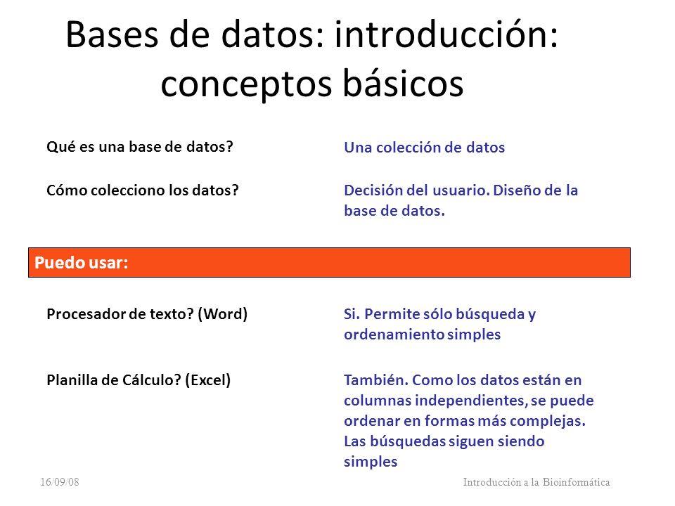 16/09/08Introducción a la Bioinformática Bases de datos: introducción: conceptos básicos Qué es una base de datos? Una colección de datos Cómo colecci
