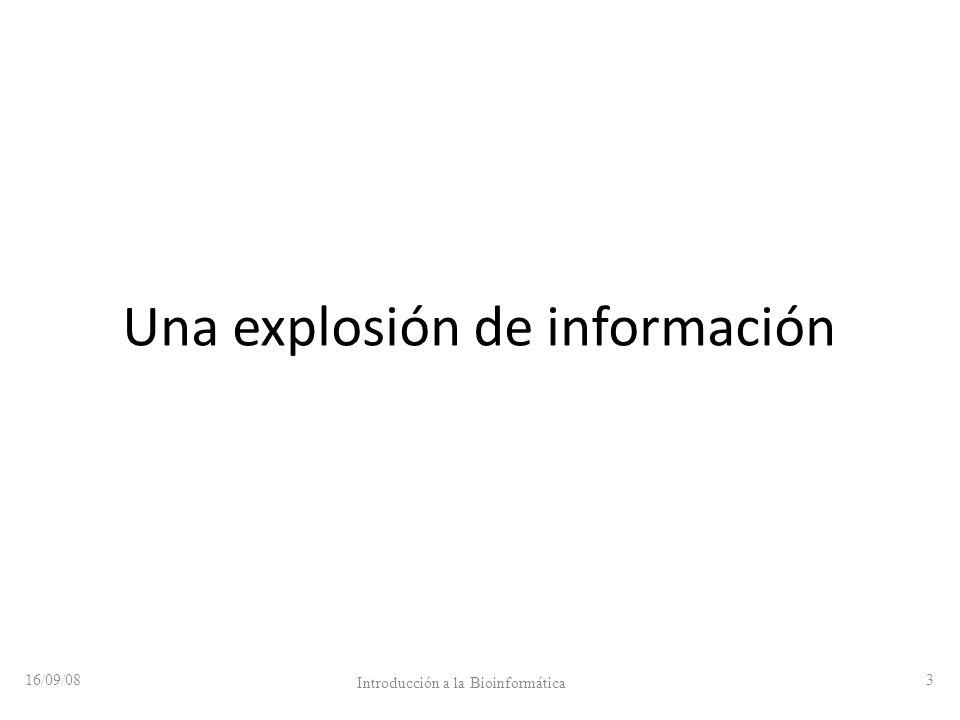 Una explosión de información 16/09/08 Introducción a la Bioinformática 3