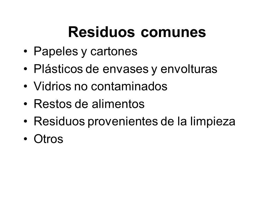 Residuos comunes Papeles y cartones Plásticos de envases y envolturas Vidrios no contaminados Restos de alimentos Residuos provenientes de la limpieza