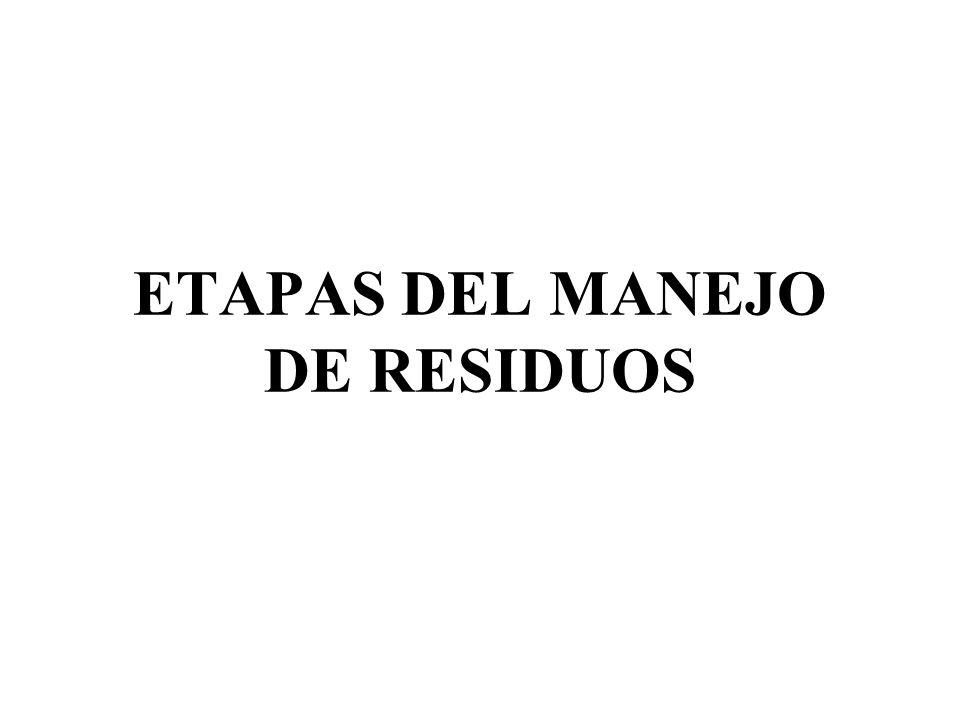 ETAPAS DEL MANEJO DE RESIDUOS