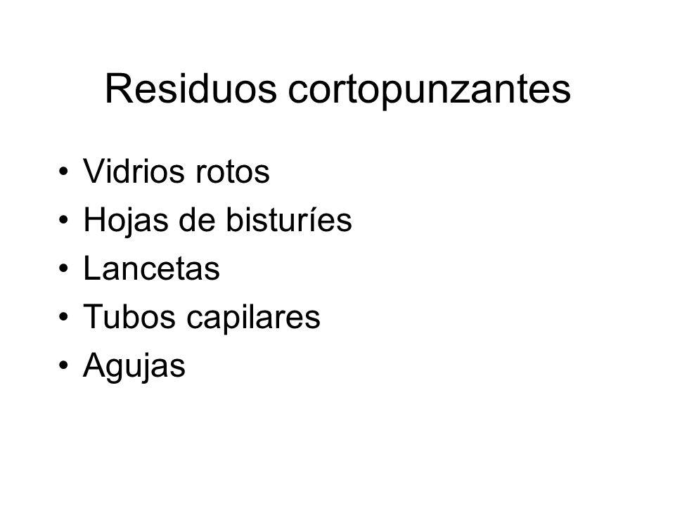 Residuos cortopunzantes Vidrios rotos Hojas de bisturíes Lancetas Tubos capilares Agujas