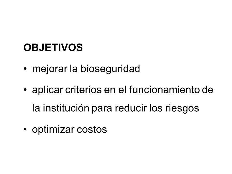 OBJETIVOS mejorar la bioseguridad aplicar criterios en el funcionamiento de la institución para reducir los riesgos optimizar costos