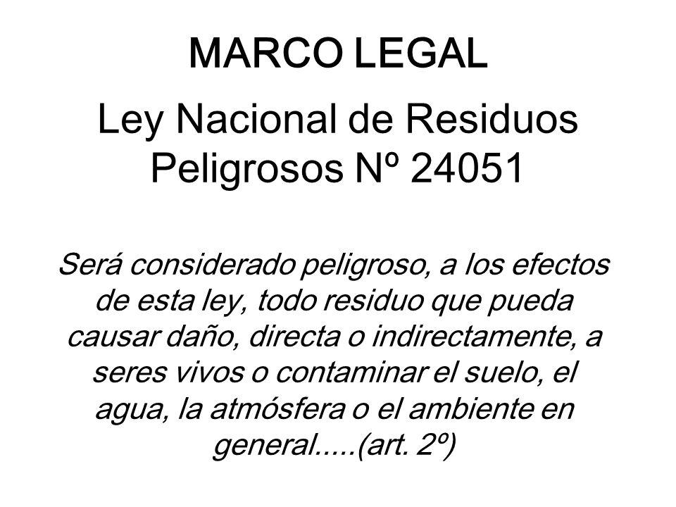 MARCO LEGAL Ley Nacional de Residuos Peligrosos Nº 24051 Será considerado peligroso, a los efectos de esta ley, todo residuo que pueda causar daño, di