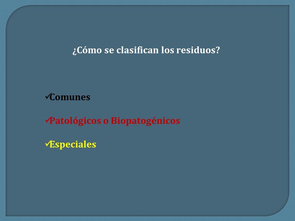 ¿Cómo se clasifican los residuos? Comunes Patológicos o Biopatogénicos Especiales