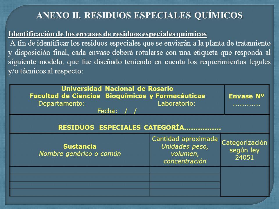 ANEXO II. RESIDUOS ESPECIALES QUÍMICOS Identificación de los envases de residuos especiales químicos A fin de identificar los residuos especiales que