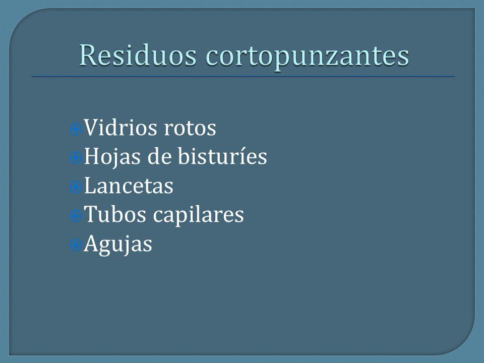 Vidrios rotos Hojas de bisturíes Lancetas Tubos capilares Agujas
