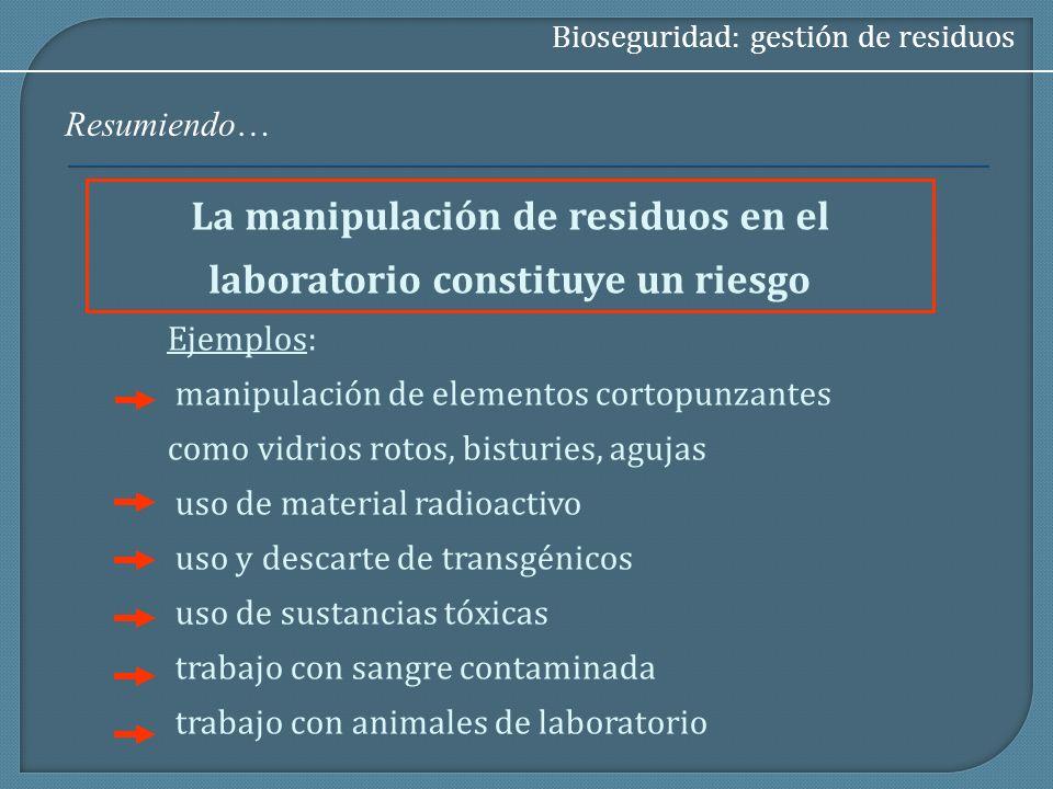 La manipulación de residuos en el laboratorio constituye un riesgo Bioseguridad: gestión de residuos Ejemplos: manipulación de elementos cortopunzante