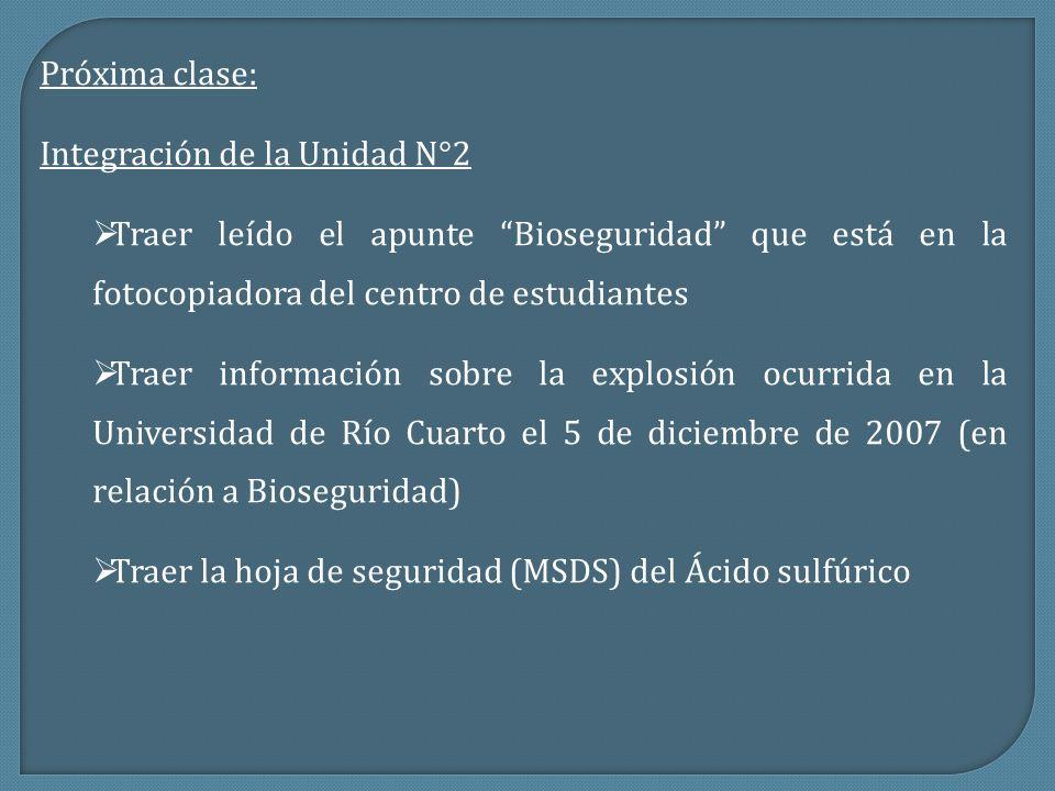 Próxima clase: Integración de la Unidad N°2 Traer leído el apunte Bioseguridad que está en la fotocopiadora del centro de estudiantes Traer informació