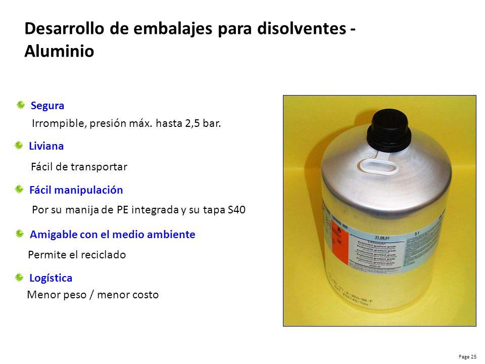 Page 26 Desarrollo de embalajes para disolventes - Vidrio MERCK Fáciles de manipular Muy estables Más Livianos Piezas iguales Difíciles de manipular Muy inestables Más pesados Piezas diferentes